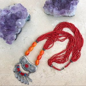 Tibetan Silver Tone & Orange Beaded Necklace